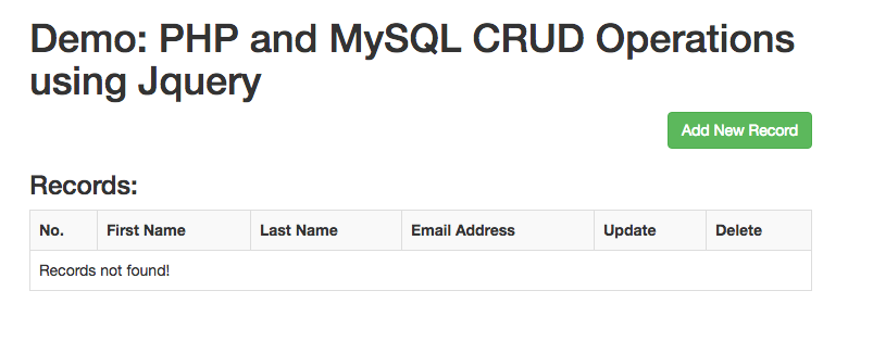 PHP MySQL CRUD Operations using jQuery and Bootstrap