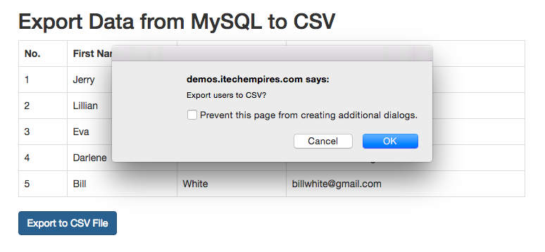 Export data from mysql to csv in php