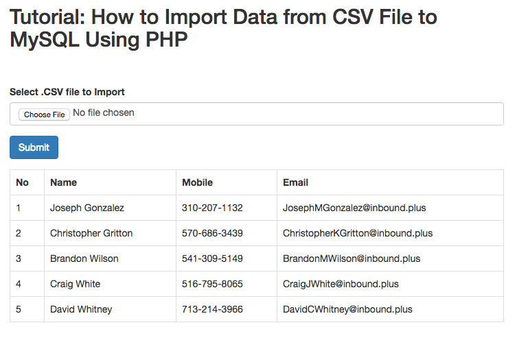 Import Data from CSV UI