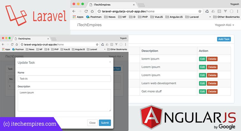 Laravel 5.5 AngularJS CRUD Operations Application