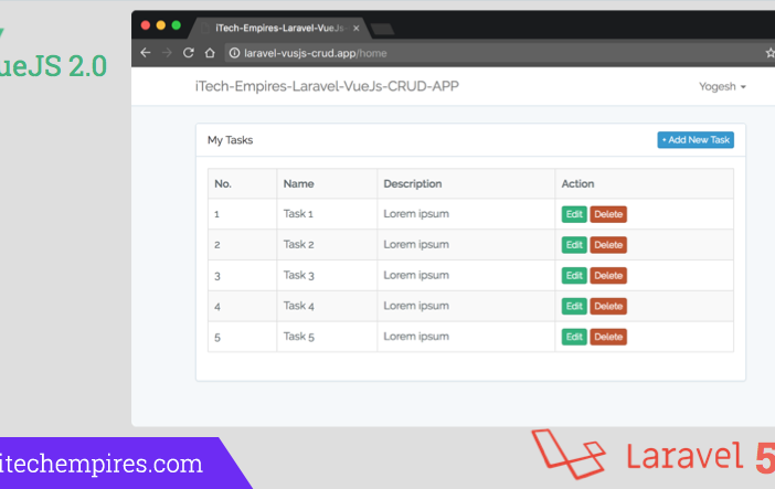 Laravel 5 5 VueJs 2 0 CRUD Operations Application - iTech