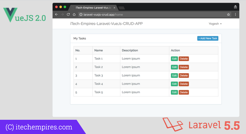 Laravel 5.5 VueJs 2.0 CRUD Operations Application