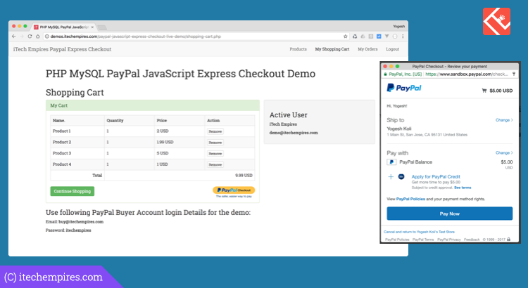 PayPal JavaScript Express checkout Integration in PHP MySQL