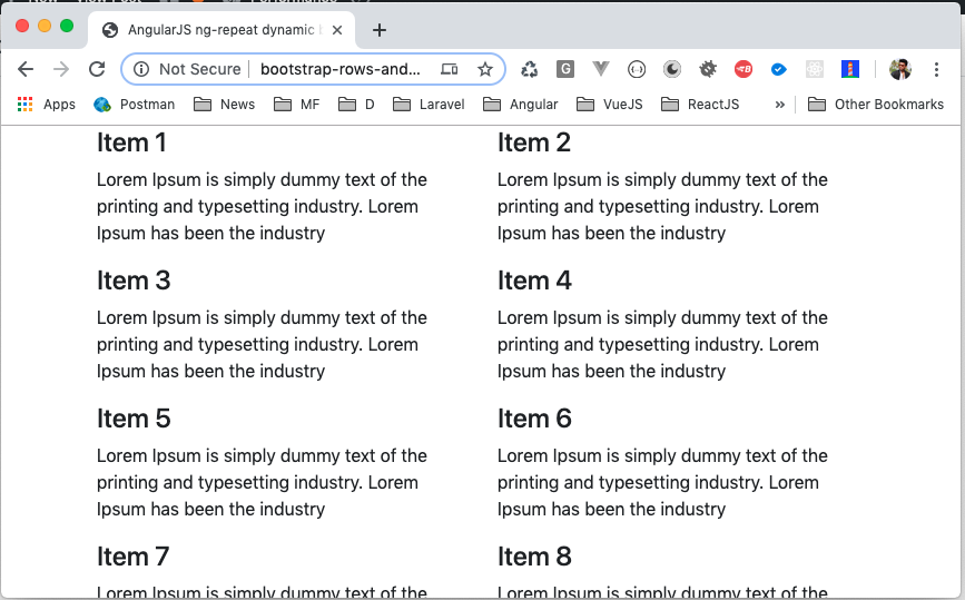 Generate 2 Columns rows Bootstrap 4