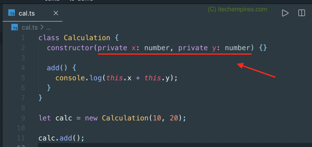 Refactoring TypeScript class by adding Access Modifiers