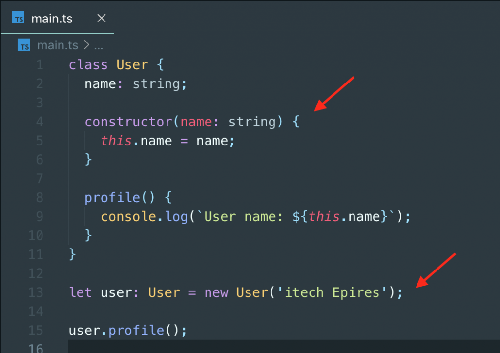 Typescript Class using constructor function